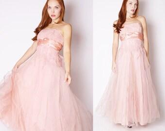 Vintage 1950s Dress - Emma Domb 1950s Dress - 50s Wedding Dress - Pink Wedding Dress  - 2258