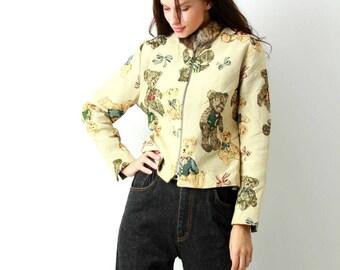 Psychedelic Blanket  Jacket / Teddy Bear Jacket / Fur Collar Jacket / Tapestry Jacket / Funny Jacket / Short Jacket / Size M / L