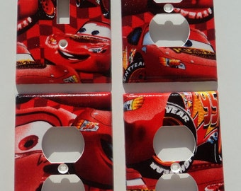 Disney Cars Lightning McQueen Light Switch Plate Outlet Cover Bundle Set