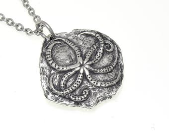 Octopus Fossil Necklace in Pewter, Archaeology Pendant Charm Jewelry