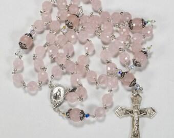Pink Rose Quartz Women's Rosary - Handmade Gift, Swarovski Crystals, Sterling Silver, Miraculous Medal Center - Heirloom Catholic Rosaries