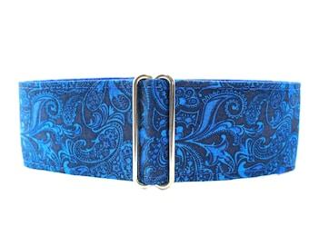 Greyhound Collar, Blue Martingale Collar, 2 inch Martingale Collar, Blue Dog Collar, Paisley Dog Collar, Dog Collars Canada