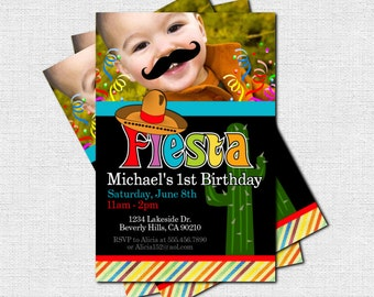 FIESTA PARTY INVITATIONS Birthday Cinco de Mayo Mustache Celebration (print your own) Personalized Printable