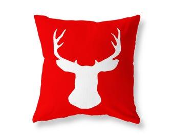 Red Cushion cover, Deer Stag Head Throw Pillow, Cotton Twill, 40cm (16'') x 40cm (16''), Hidden Zip