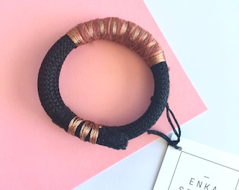Black Terracotta Cuff, Rope Bracelet, Rope Bangle, Cord Bracelet, Fabric Bracelet, Boho Jewelry