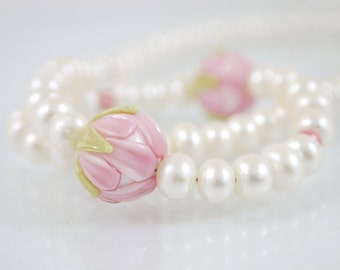 Pearl necklace rose red and snow white with silver hook