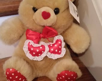 Vintage 1980s Valentines Day Teddy Bear, Heart Shape red nose, Heart shape Mini Pillow Tossles