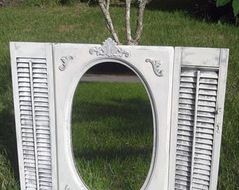 Mirror and shutters,oval mirror,white mirror