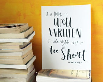 Printable Literary Gifts | Jane Austen | Jane Austen Wall Art | Literary Poster Gift | Bookishly