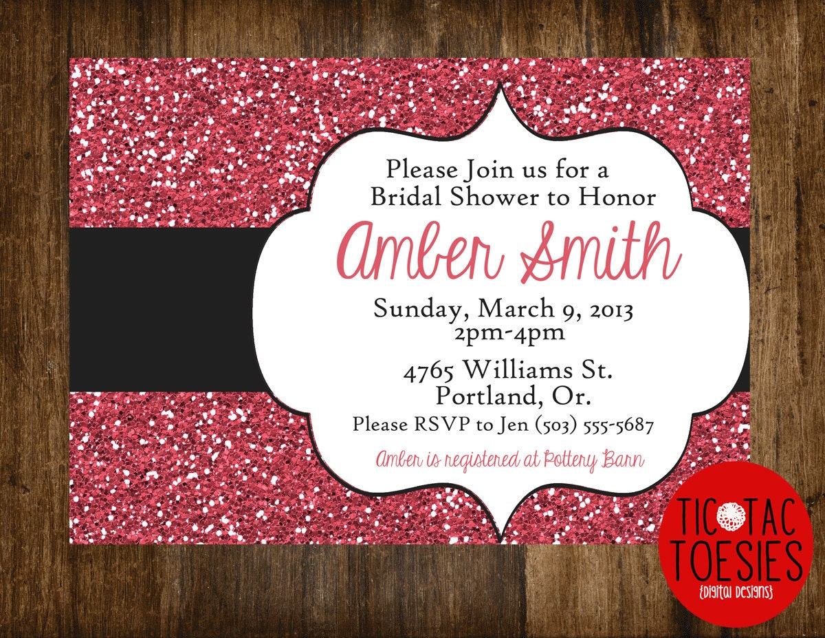 Glitter Invitation Bridal Shower Invitation Wedding Shower
