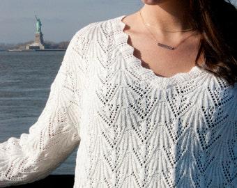 Long Sleeve Cotton Sweater, open knit, scalloped edge trim