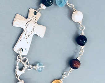Multi Gemstone - Psalm 23 - Artisan Made 935 Argentium Sterling silver Cross -  Bracelet -They must take up their Cross and follow me...