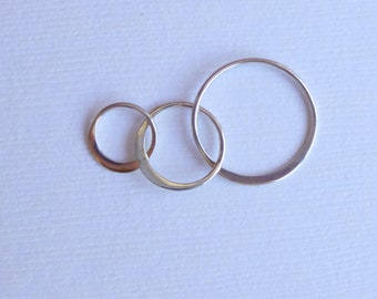 Sterling Silver Three Circle Connector -- One Piece -- Triple soldered rings