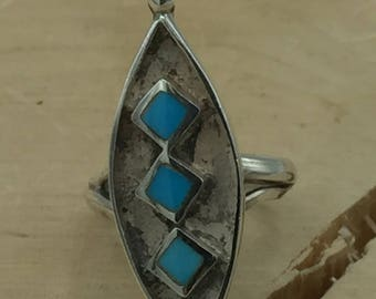 Silver and Turquoise Ring Size 6