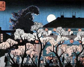 Godzilla Silhouette Japanese Woodblock Print