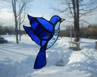 Mountain blue bird med. stained glass suncatcher