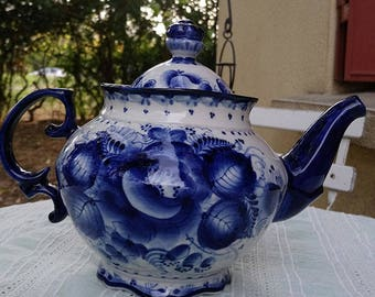 "Stunning ""Gzhel"", signed Russian porcelain teapot."