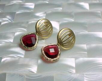Post Earrings Glass Drop Dangle Earrings Ruby and Gold Earrings Deep Pink Fashion Jewelry Modern Jewelry