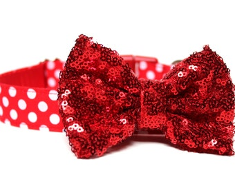 Dog Collar Bow Add-On Red Sparkle Bow for Dogs