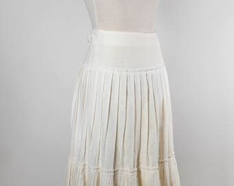 Cream Linen Pleated Midi Skirt 70s