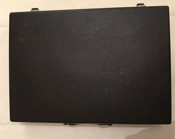 Vintage Samsonite Brown Briefcase Slim Hard Case Attach Mad Men Retro/ missing key. Made in Belgium.