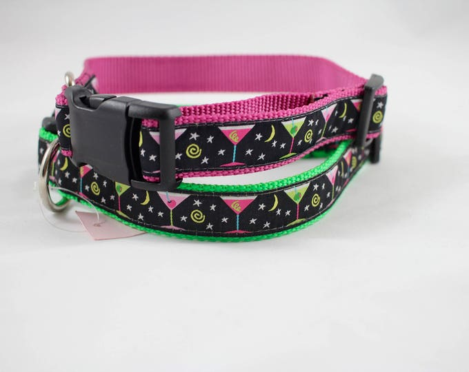 Martini glasses, Yappy Hour gift, Happy Hour gifts,  party ware, pink collar, green collar, festive collar, pet gift,  woven jacquard collar