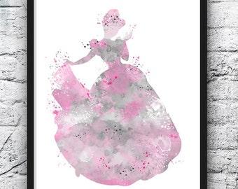Princess Cinderella Watercolor Print Disney Art Movie Poster Kids Room Girl Nursery Wall Hanging Home Decor Duotone Pink Gray Painting - 448