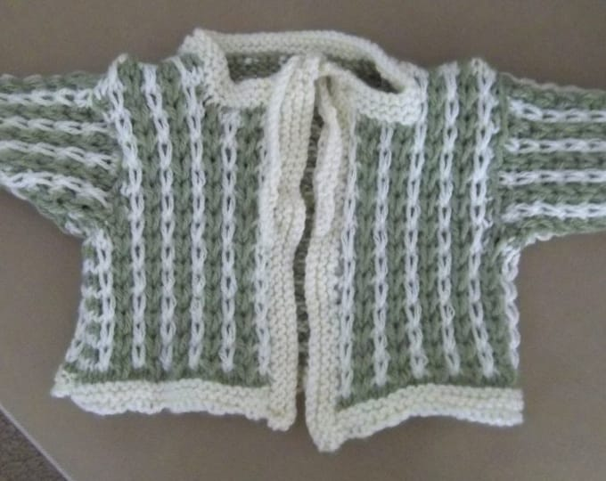 Cardigan - Hand Knitted Baby Cardigan - for 3+ month - in Green and White