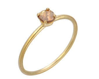 Light Champagne, Mocha Rose Cut Diamond Slice Solitaire Ring, 14kt Yellow Gold Stacking Ring, Gevani Jewelry