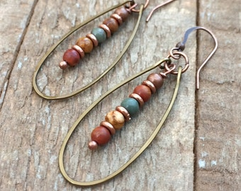 Bohemian Jewelry - Boho Earrings - Boho Dangle Earrings - Bohemian Hoop Earrings - Copper Hoop Earrings - Colorful Earrings - Copper Jewelry