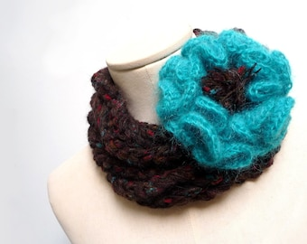 Loop Infinity Scarf Necklace, Brown Wool with Crochet Teal Green Giant Flower, Fiber Chunky Jewelry, Gift for Sister and Friend