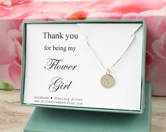 Thank you for being my Flower Girl thank you gift sterling silver initial necklace personalized gift for Flower girl jewelry gift box