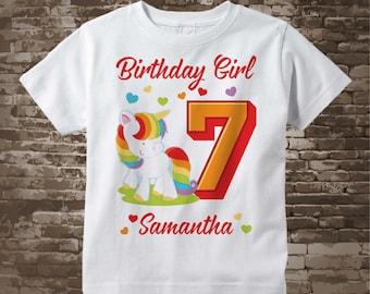 7th Birthday Girl Unicorn Birthday Shirt, Personalized Girl's Seventh Birthday Shirt, Rainbow Unicorn Birthday Theme 12052017d