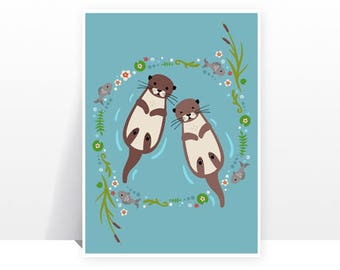 My Significant Otter -MANY SIZES - Animals Love Modern Childrens Kids Decor Illustration Nursery Cute Teal Kawaii Bright Print