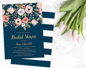 Bridal Shower Invitation Printable, Floral Bridal Shower Invitation, Navy Gold Bridal Shower Invite, Spring Bridal Shower Invite