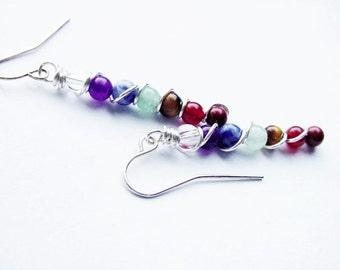 7 Chakra Earrings, Semi Precious, Balance Energy Meridians, Chakra Jewelry, Reiki Jewelry, Jewellery
