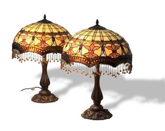 Tiffany leadlight floor lamp stained glass bridge arm pair of high quality hand made leadlight lamps antique tiffany beaded aloadofball Gallery