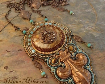Paladin - Bead Embroidery Statement Necklace Turquoise Antique Brass