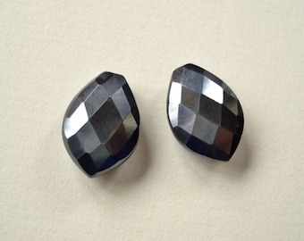 Gunmetal Grey Hematite Half Top Drilled Faceted Marquise Drops 10x15x6 mm One Pair Perfect for earrings G7217