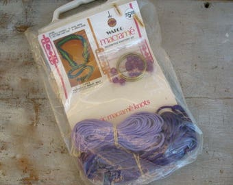 Vintage Macrame Belt Kit By Walco Purple 1971 Groovy Knotted Hippie Beaded Braid Belts Boho Crafter 1970's Crafts