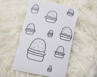 Burgers Illustration Drawing - Original