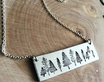 Silver tree bar necklace