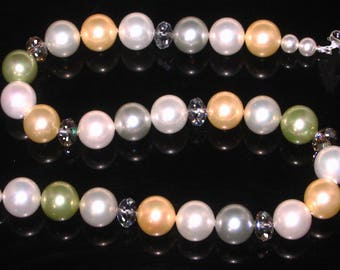 Mother of Pearl Faux Pearl and Swarovski Crystal Necklace