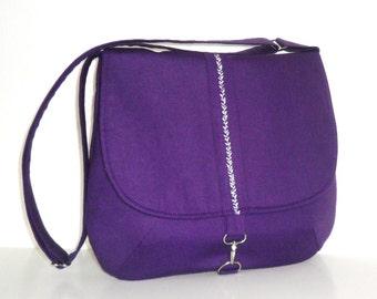 Purple Canvas Messenger Bag. Purple Messenger Bag. Purple Crossbody Bag