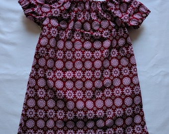 Red Snowflake Dress - 0-3 Months - Baby Dress - Peasant Dress