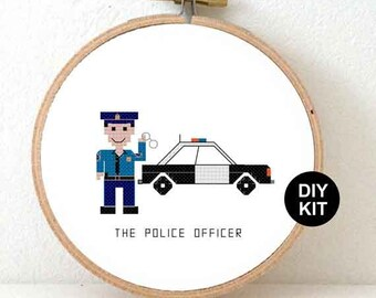 Cross Stitch Kit Police officer. Police department gifts. Beginner cross stitch kit with hoop