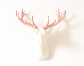 WHITE APRICOT SMALL Faux Deer Head wall mount Faux Taxidermy animal head bust / stag head / nursery wall decor / wall art / animal sculpture