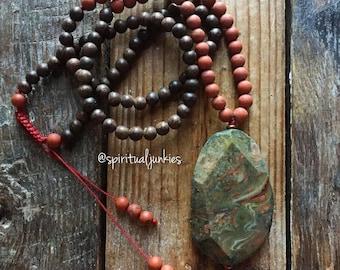 108 Bead Agarwood, Matte Red Jasper + Ocean Jasper Spiritual Junkies Yoga and Meditation Mini Mala