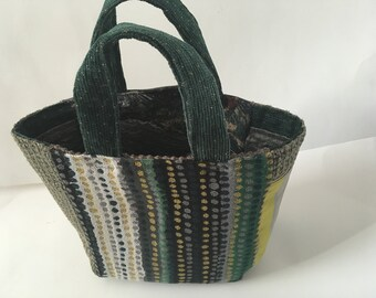 Dots and Stripes Project bag, Green Project bag, Knitting bag, Crochet Bag, Knitting Project, Crochet Project