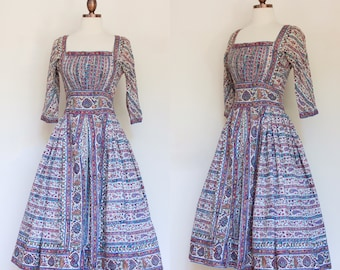 vintage 1950s Indian cotton printed dress | 50s paisley print dress with full skirt | XS